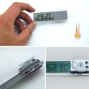 Digitálny priesvitný teplomer s prísavkou na sklo