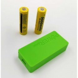 USB Power Banka na 2x 18650 batérie zelená