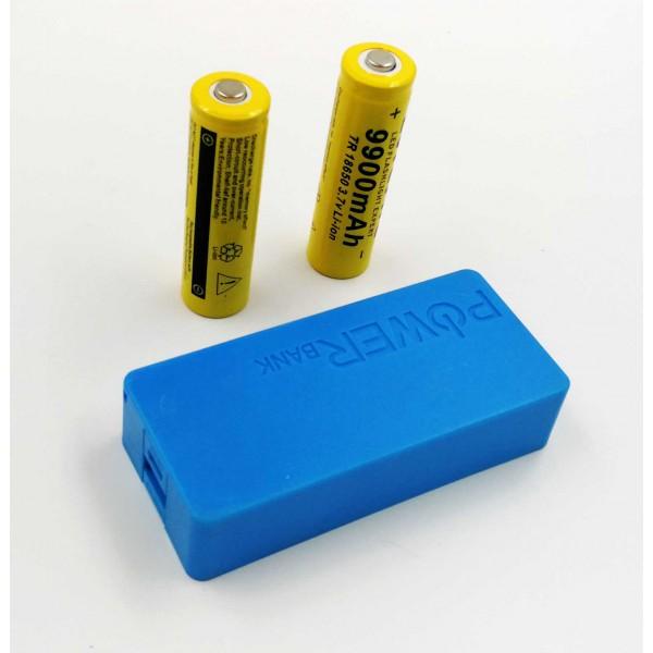 USB Power Banka na 2x 18650 batérie modrá
