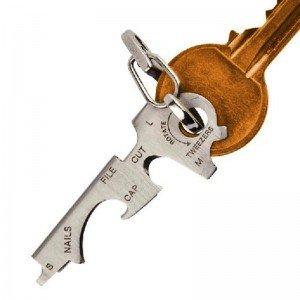 8v1 multifunkčný nerezový prívesok na kľúče