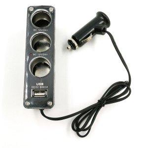 3-rozbočovač autozapalovačovej zásuvky s USB