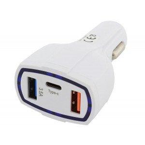 Autonabíjačka QC 3.0 3x USB biela 3,1A